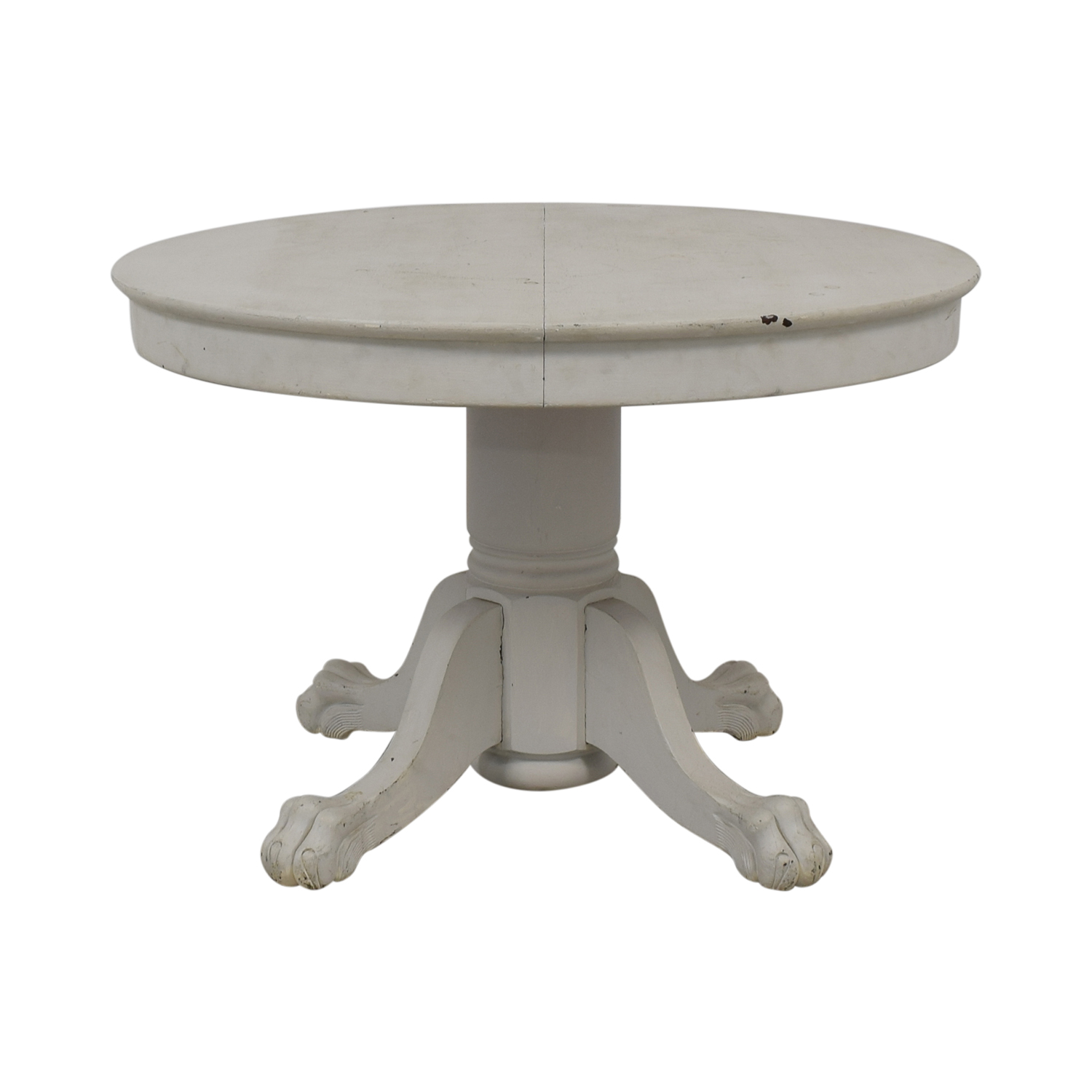 American Country Distressed Round White Oak Table discount