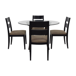 Crate & Barrel Halo Table With Basque Upholstered Chairs Crate & Barrel