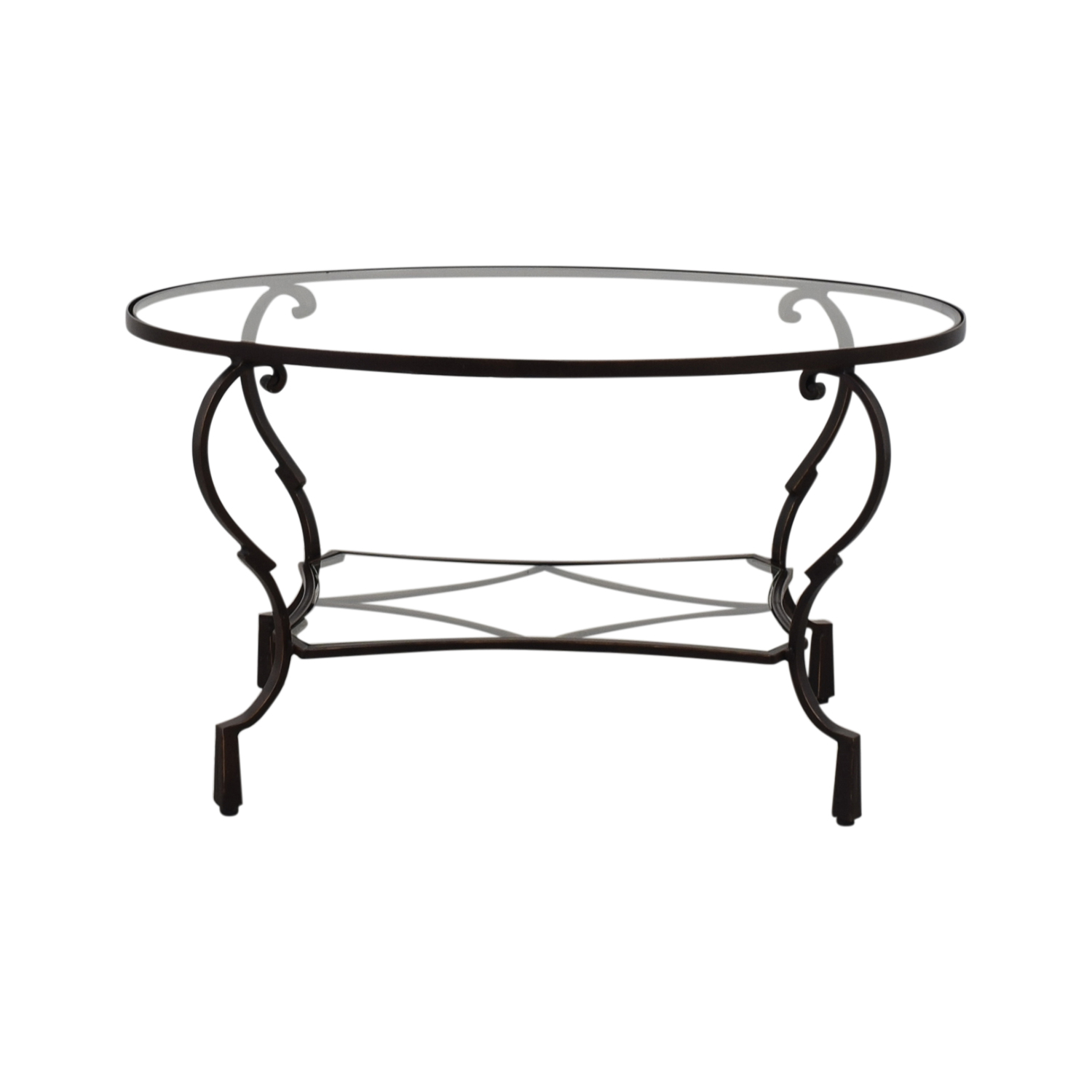 buy Pier 1 Glass Top Brown Oval Coffee Table Pier 1