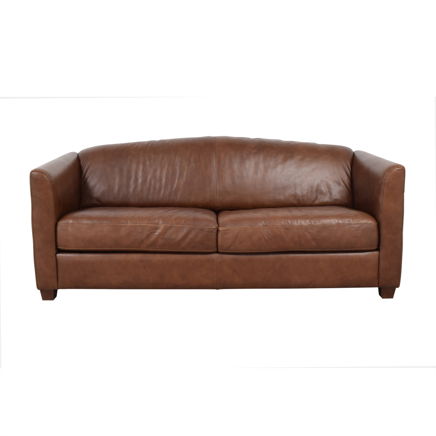 Brown Two-Cushion Convertible Sleeper Sofa Sofas