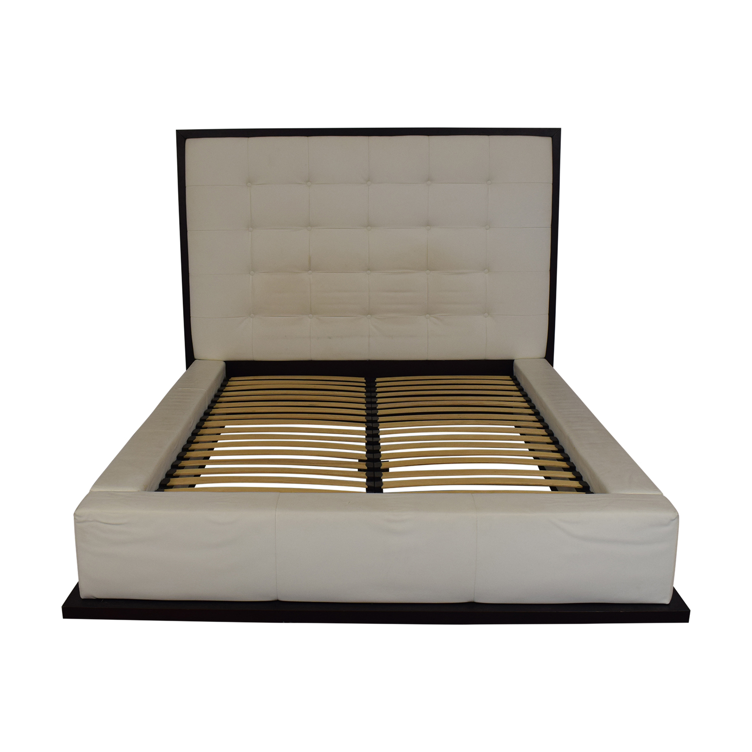 Modloft Ludlow White Tufted Upholstered Queen Bed Frame Modloft