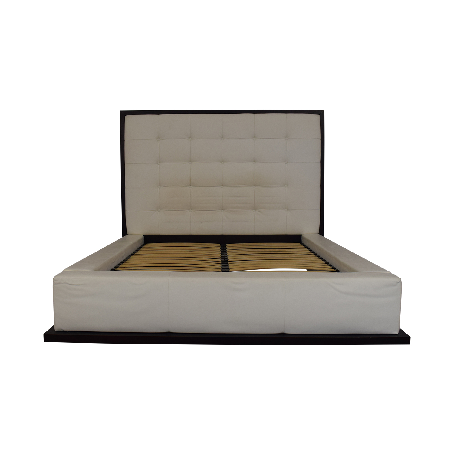 Modloft Ludlow White Tufted Upholstered Queen Bed Frame / Beds
