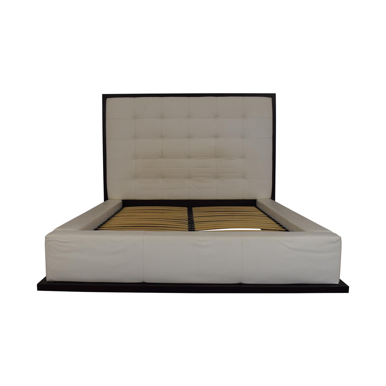 Modloft Modloft Ludlow White Tufted Upholstered Queen Bed Frame dimensions