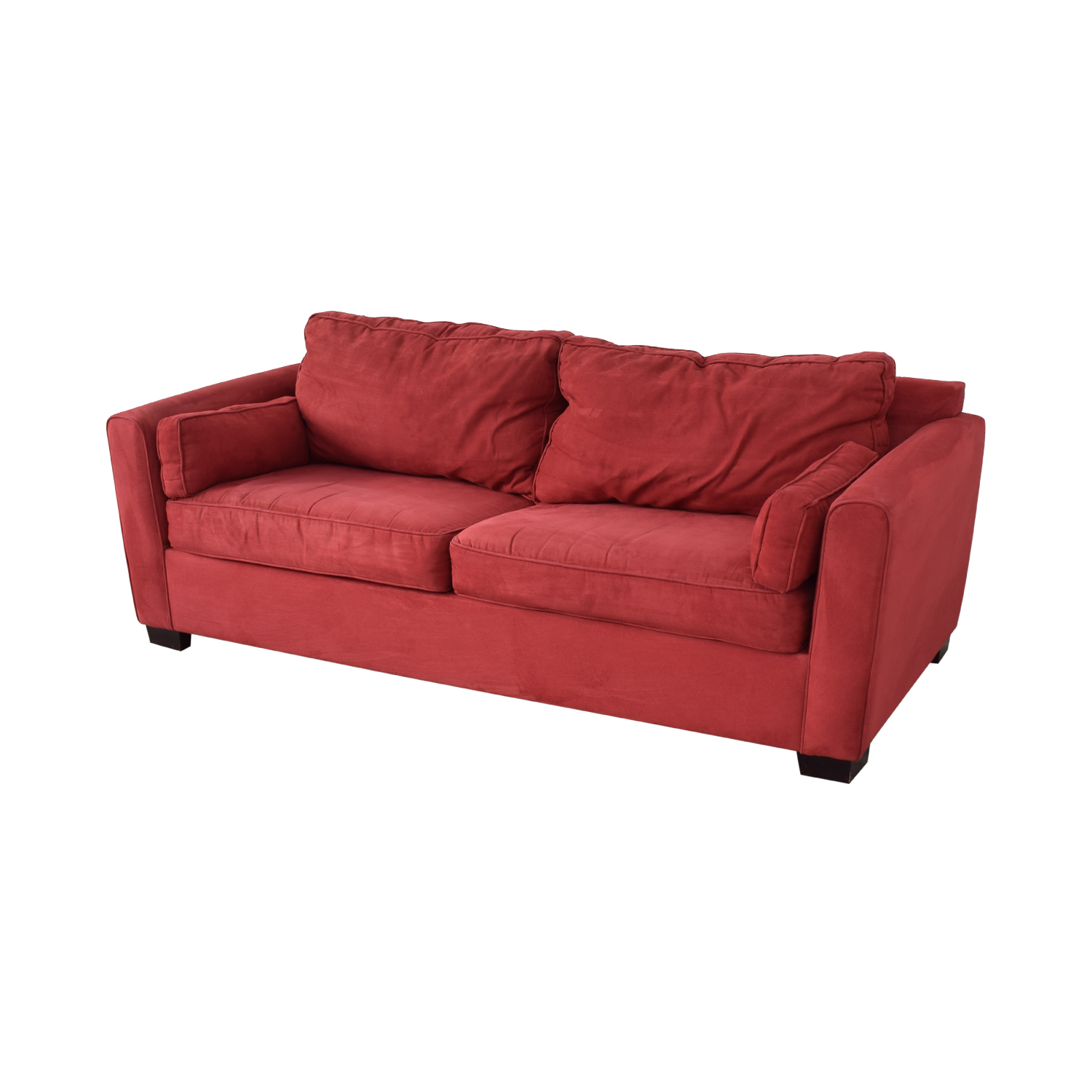 80% OFF - Bloomingdale\'s Bloomingdale\'s Red Two-Cushion Convertible Sofa /  Sofas