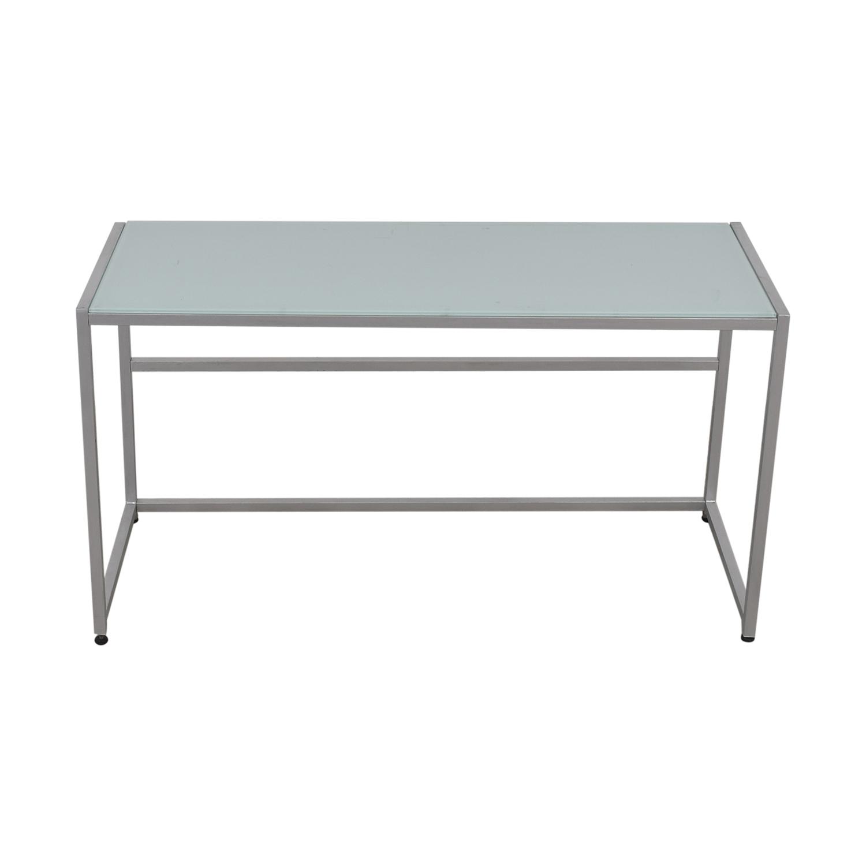 buy CB2 Glass and Chrome Trig Desk CB2