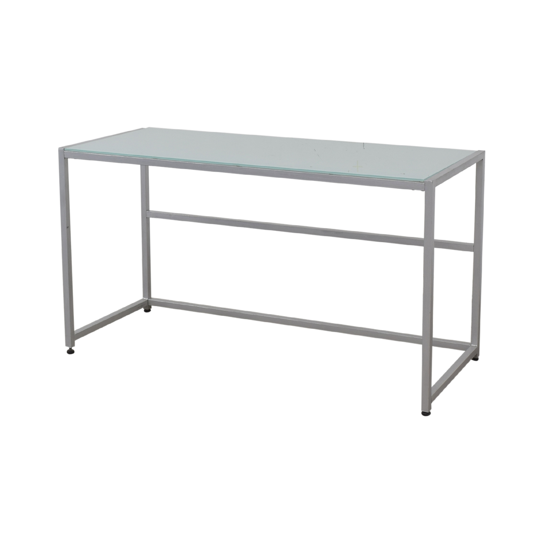 CB2 CB2 Glass and Chrome Trig Desk glass top/grey base