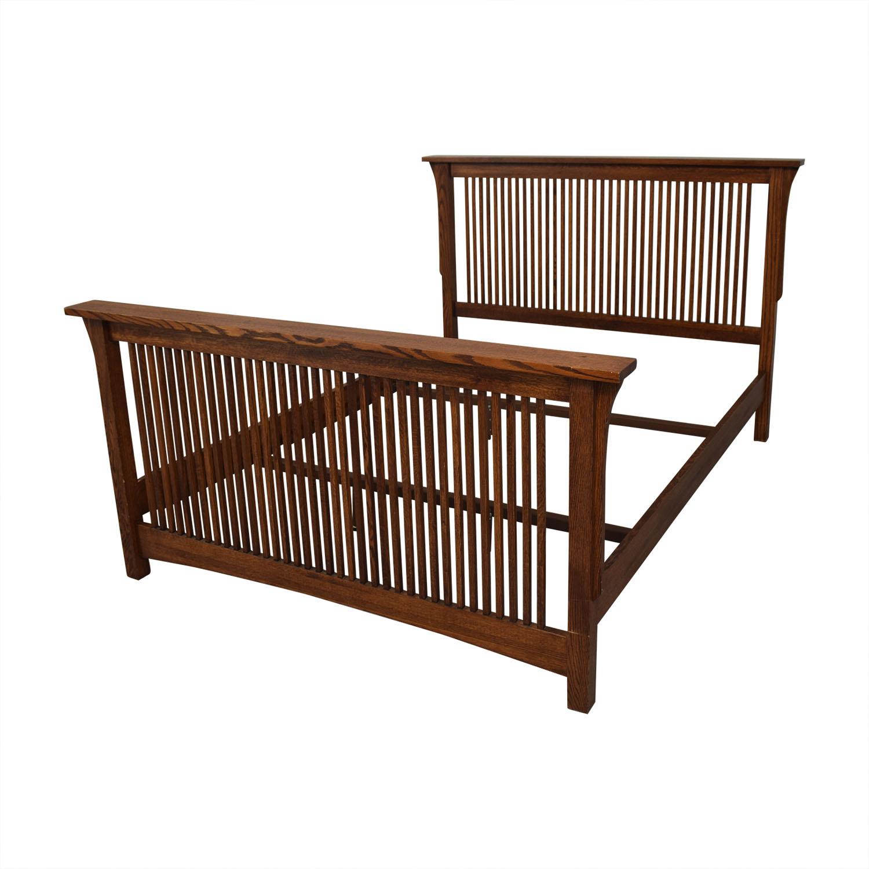 buy Spindle Mission Style Oak Queen Bed Frame  Bed Frames
