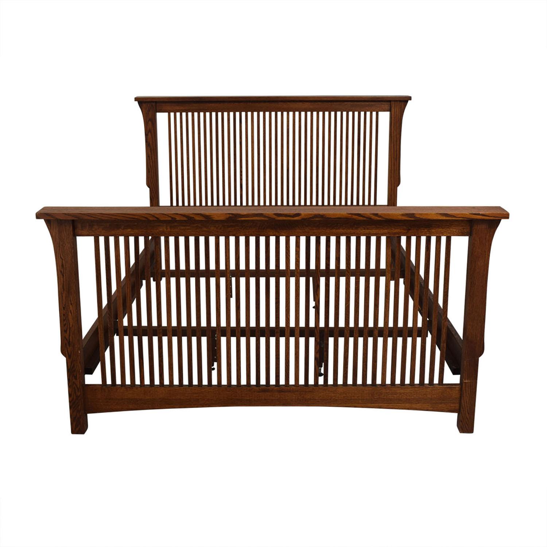 buy  Spindle Mission Style Oak Queen Bed Frame online
