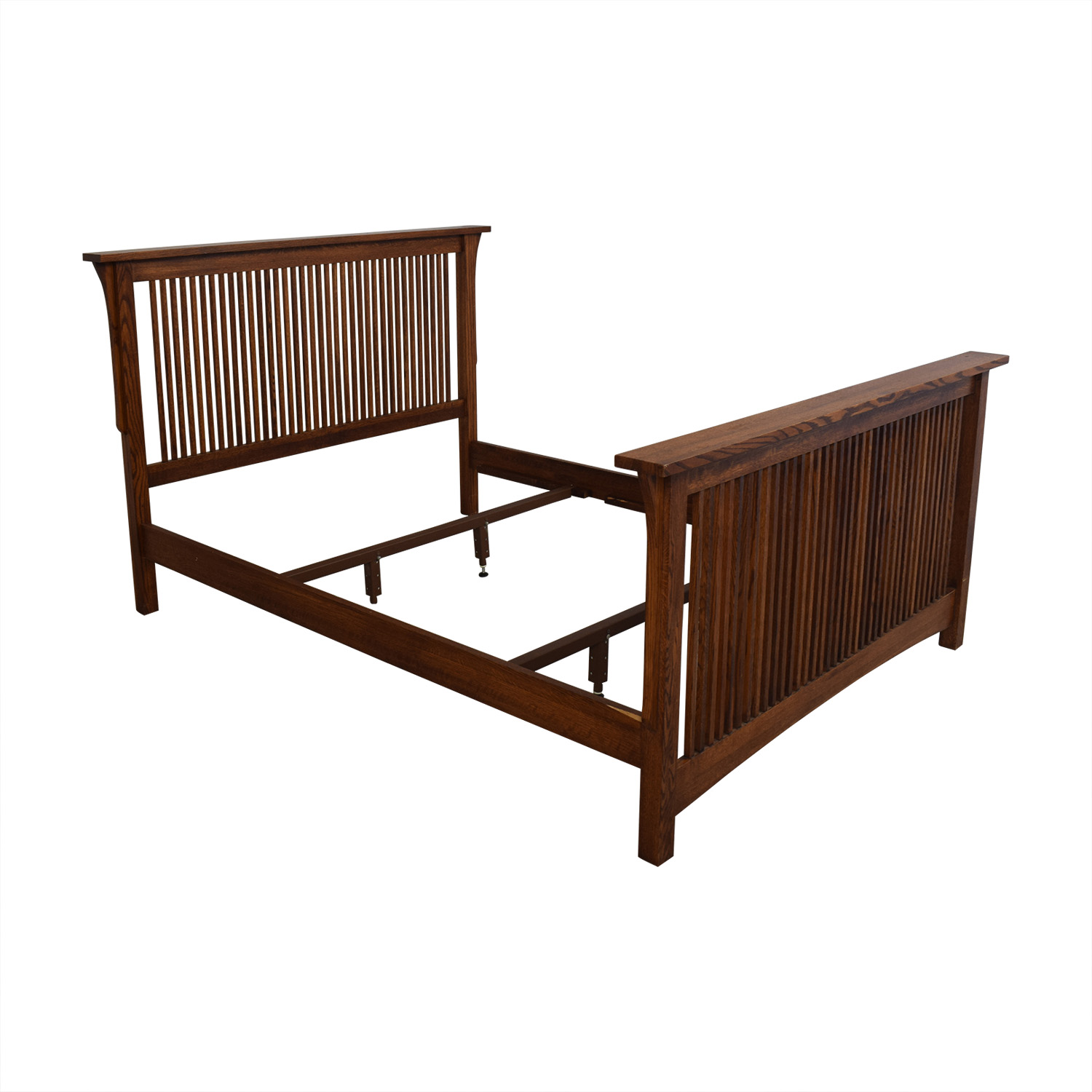 Spindle Mission Style Oak Queen Bed Frame brown