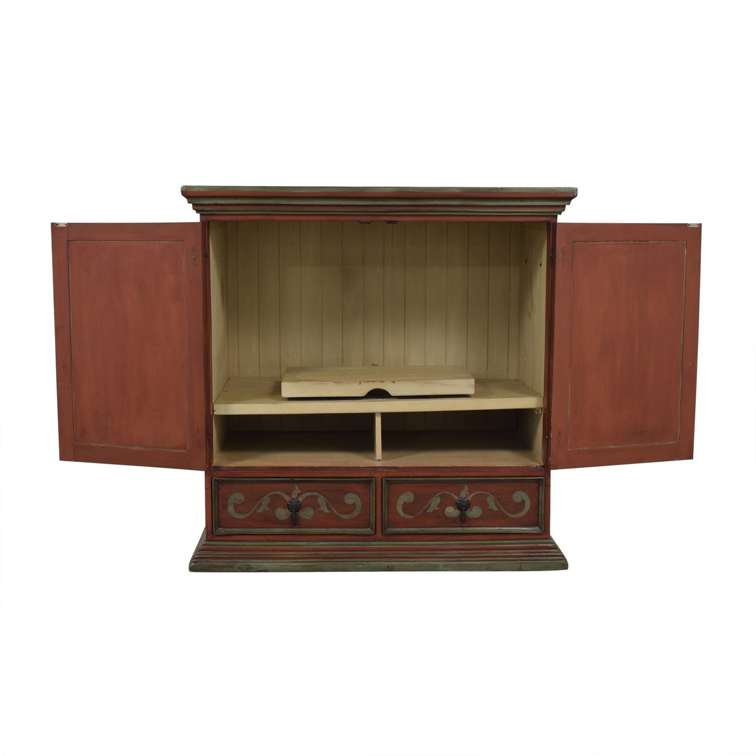 Two-Drawer Wood TV Armoire second hand