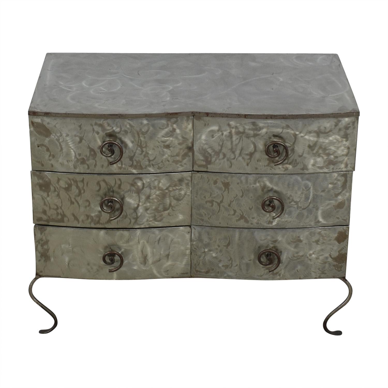 Metal Silver Six-Drawer Dresser second hand