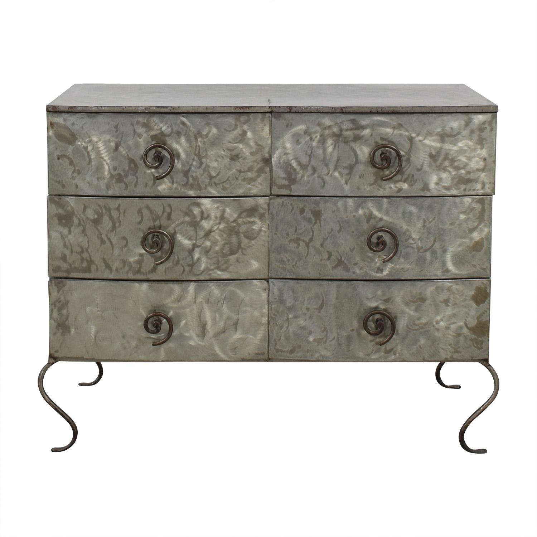 Metal Silver Six-Drawer Dresser / Storage