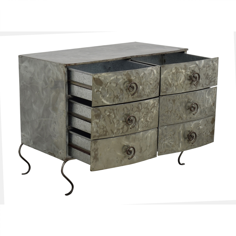 Metal Silver Six-Drawer Dresser Dressers