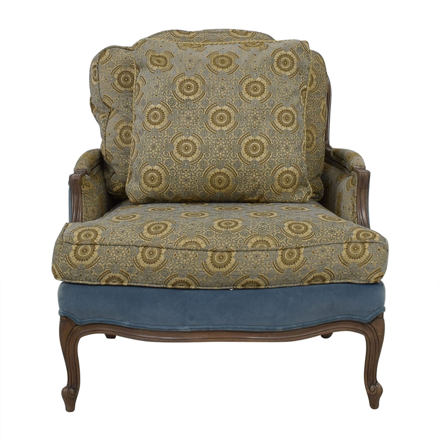Ethan Allen Blue and Beige Accent Chair / Chairs