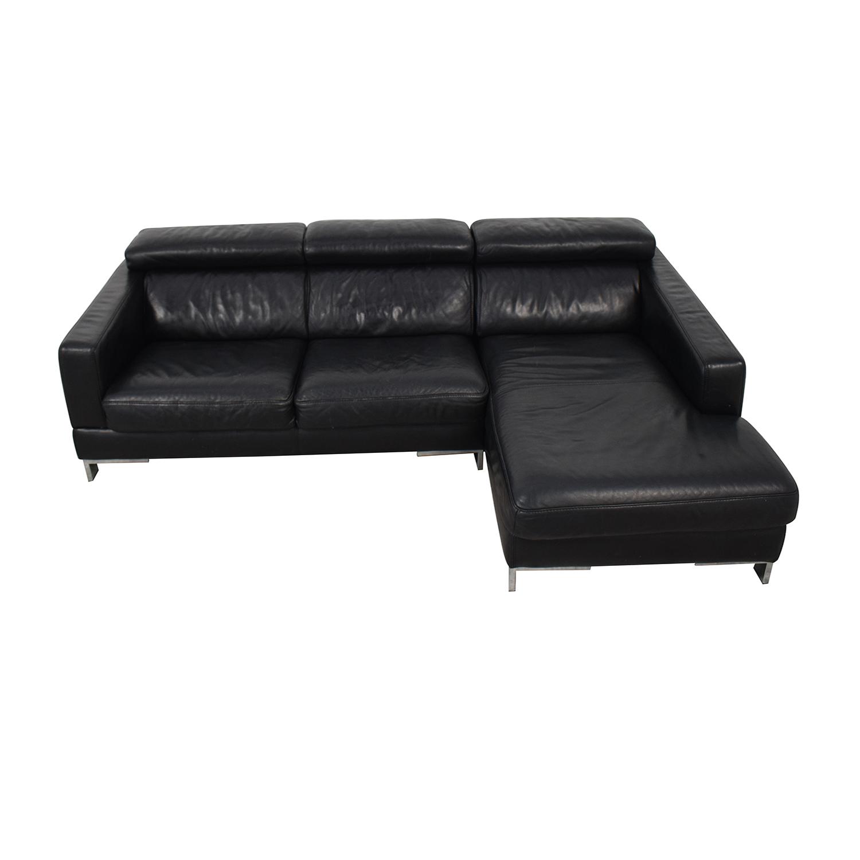 Modern Black Chaise Sofa black