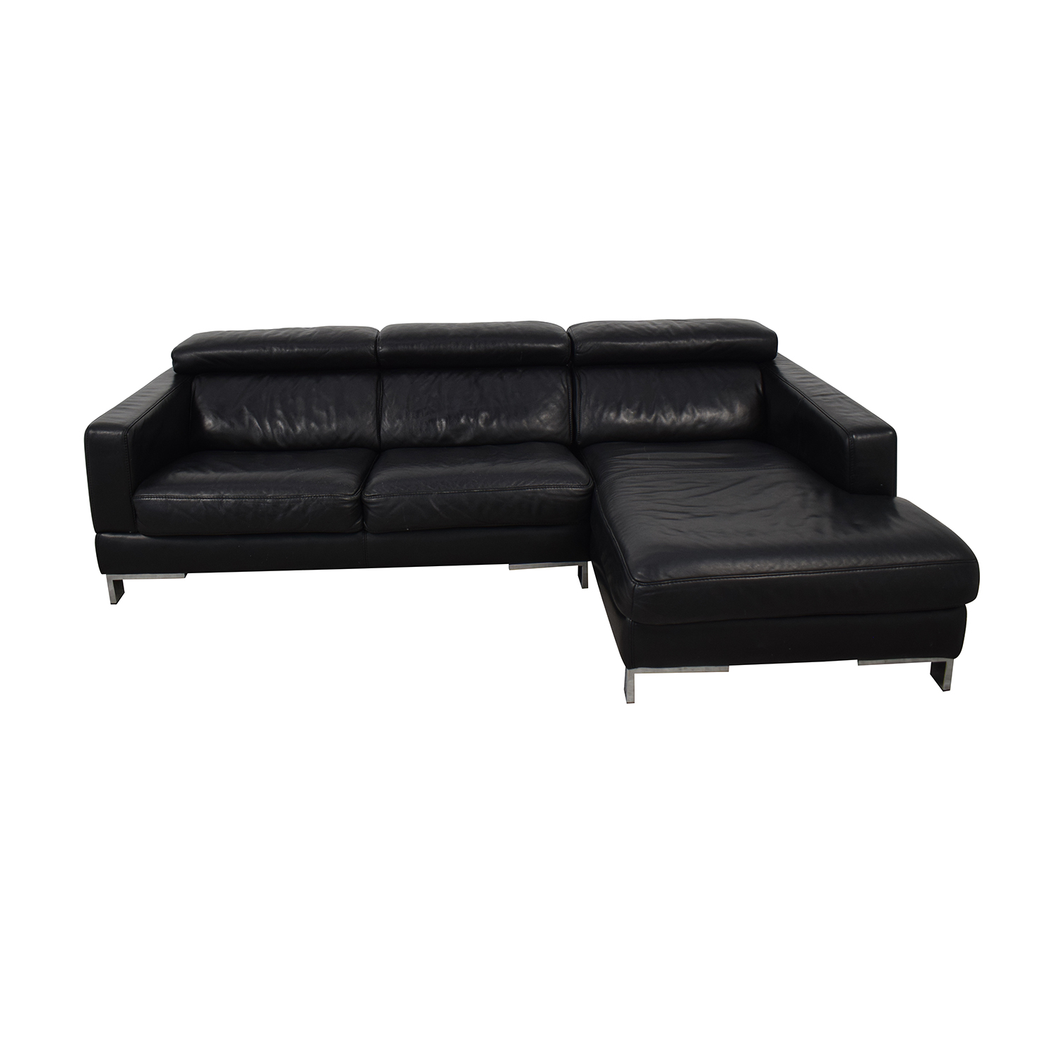 Modern Black Chaise Sofa for sale
