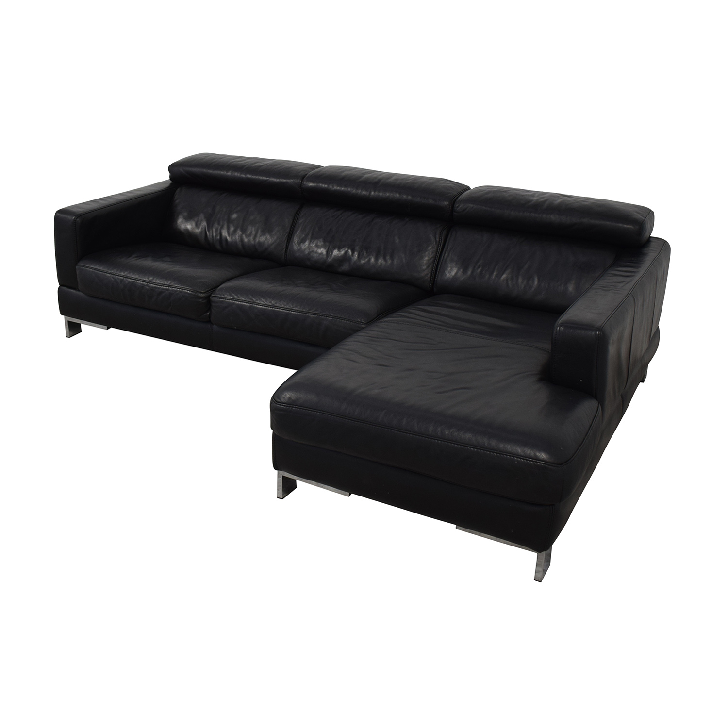 buy Modern Black Chaise Sofa  Sectionals