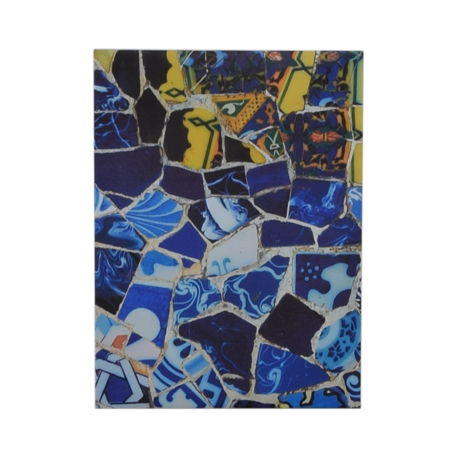Canvas Print of Yellow and Blue Crushed Tiles on sale