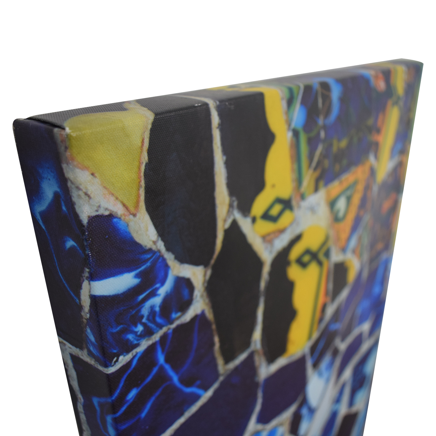 Canvas Print of Yellow and Blue Crushed Tiles discount