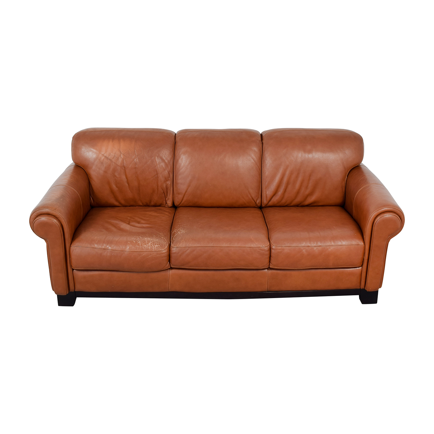 Macys Couch: Macy's Macy's Cognac Three-Cushion Couch / Sofas