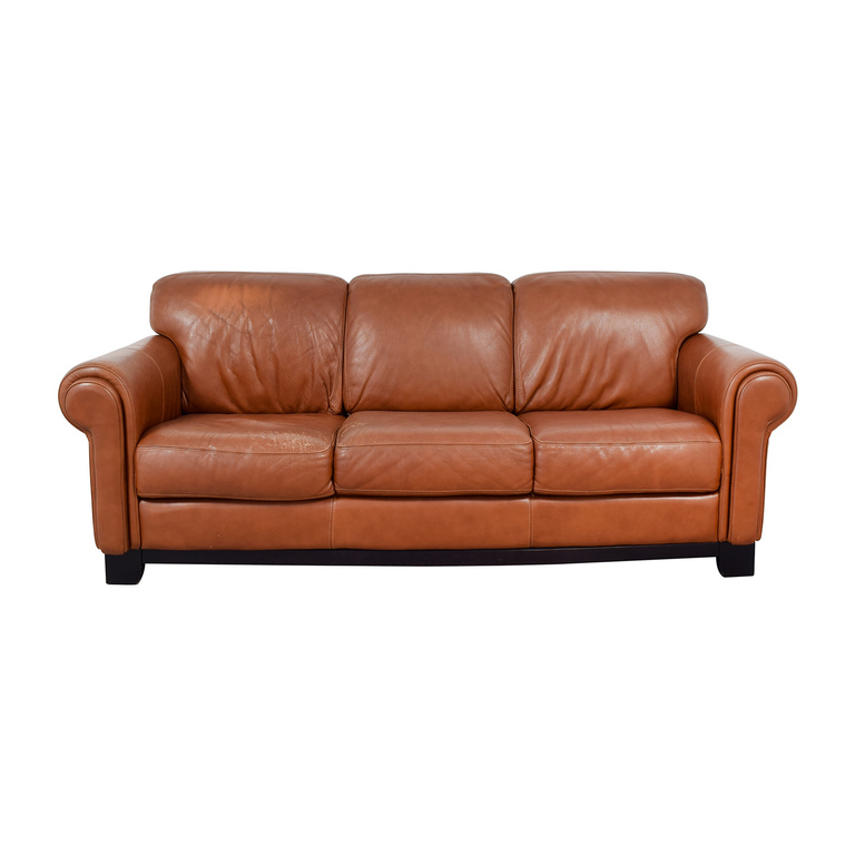 Macy's Macy's Cognac Three-Cushion Couch coupon