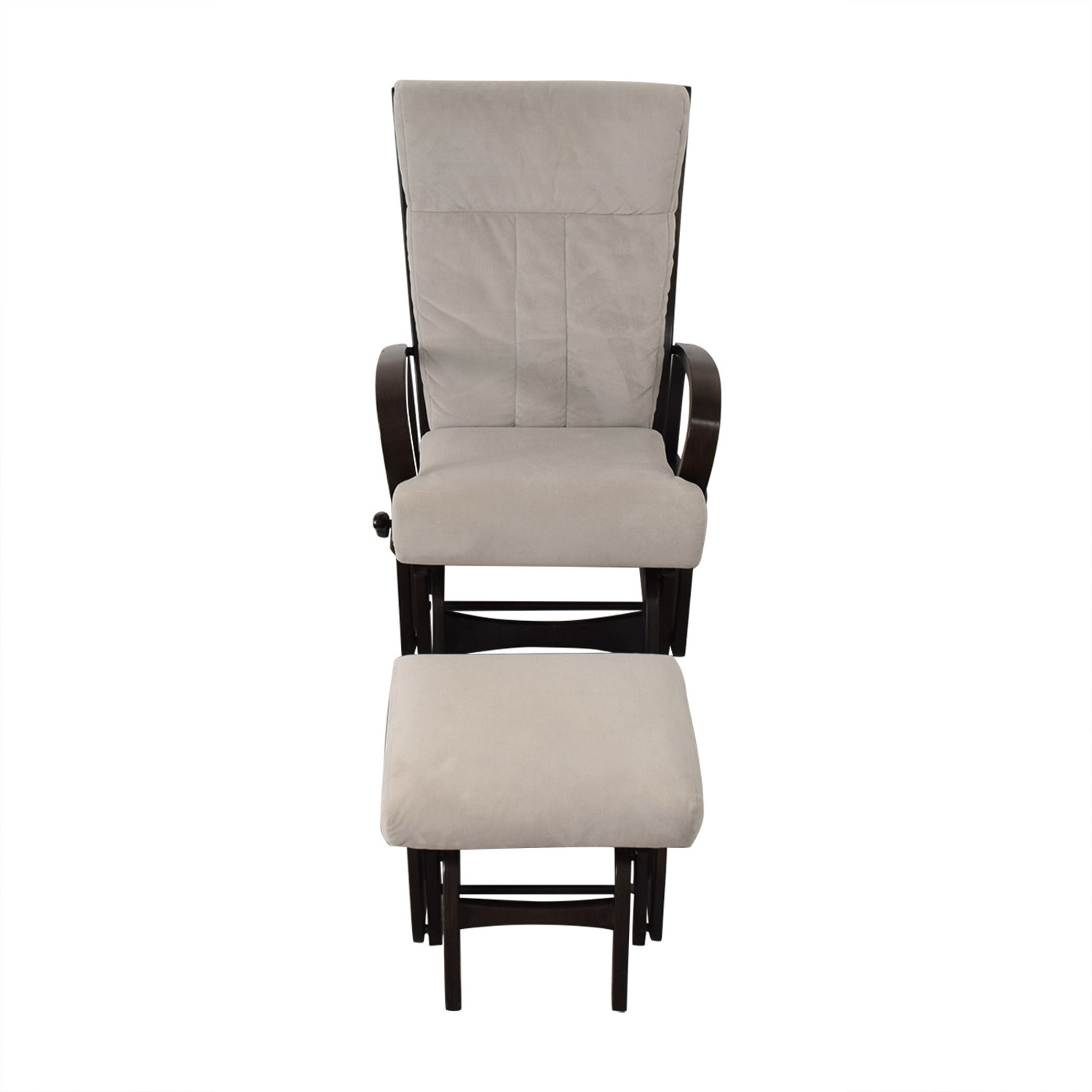 Dutailier Dutailier Wood Frame and Grey Upholstered Armchair and Ottoman for sale