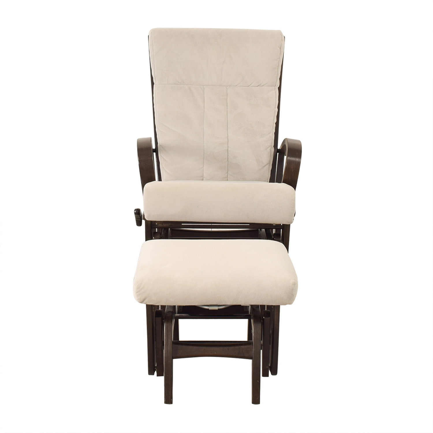 shop Dutailier Wood Frame and Grey Upholstered Armchair and Ottoman Dutailier Accent Chairs
