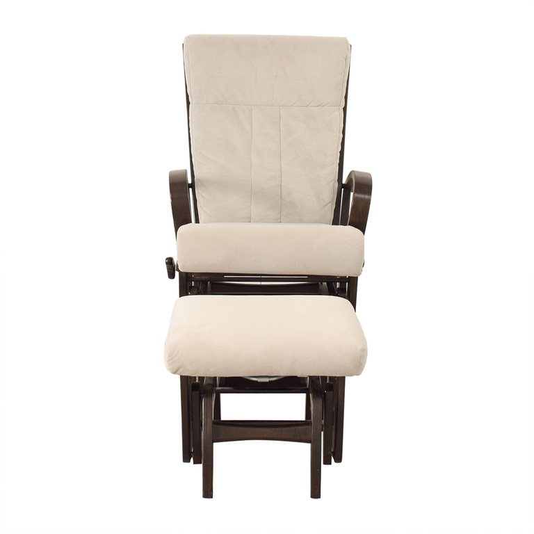 Dutailier Dutailier Wood Frame and Grey Upholstered Armchair and Ottoman nj