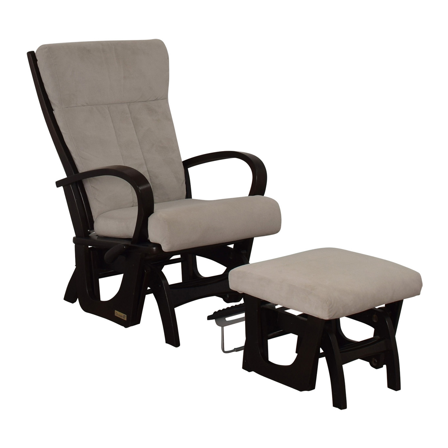 buy Dutailier Wood Frame and Grey Upholstered Armchair and Ottoman Dutailier Accent Chairs