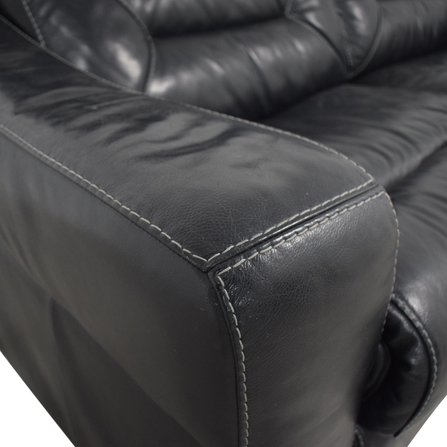 Macy's Macy's Judson Leather Dual Power Reclining Loveseat Sofas