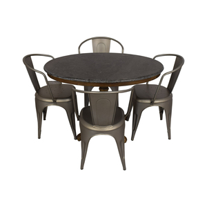 Restoration Hardware Bluestone Dining Table And Remy Chairs sale