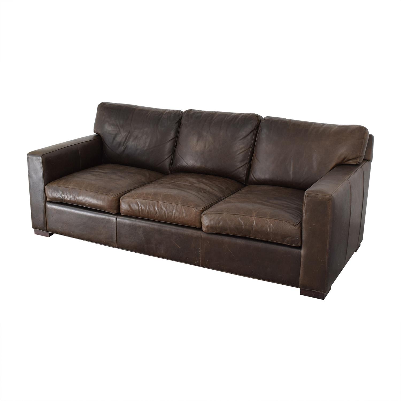 Crate & Barrel Crate & Barrel Axis II Brown Three-Cushion Sofa for sale