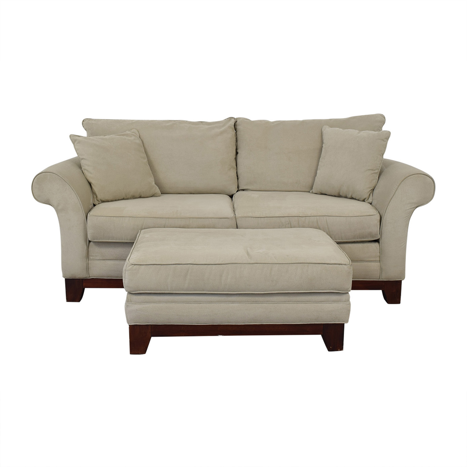 Craftmaster Furniture Craftmaster Furniture Microsuede Couch and Ottoman discount