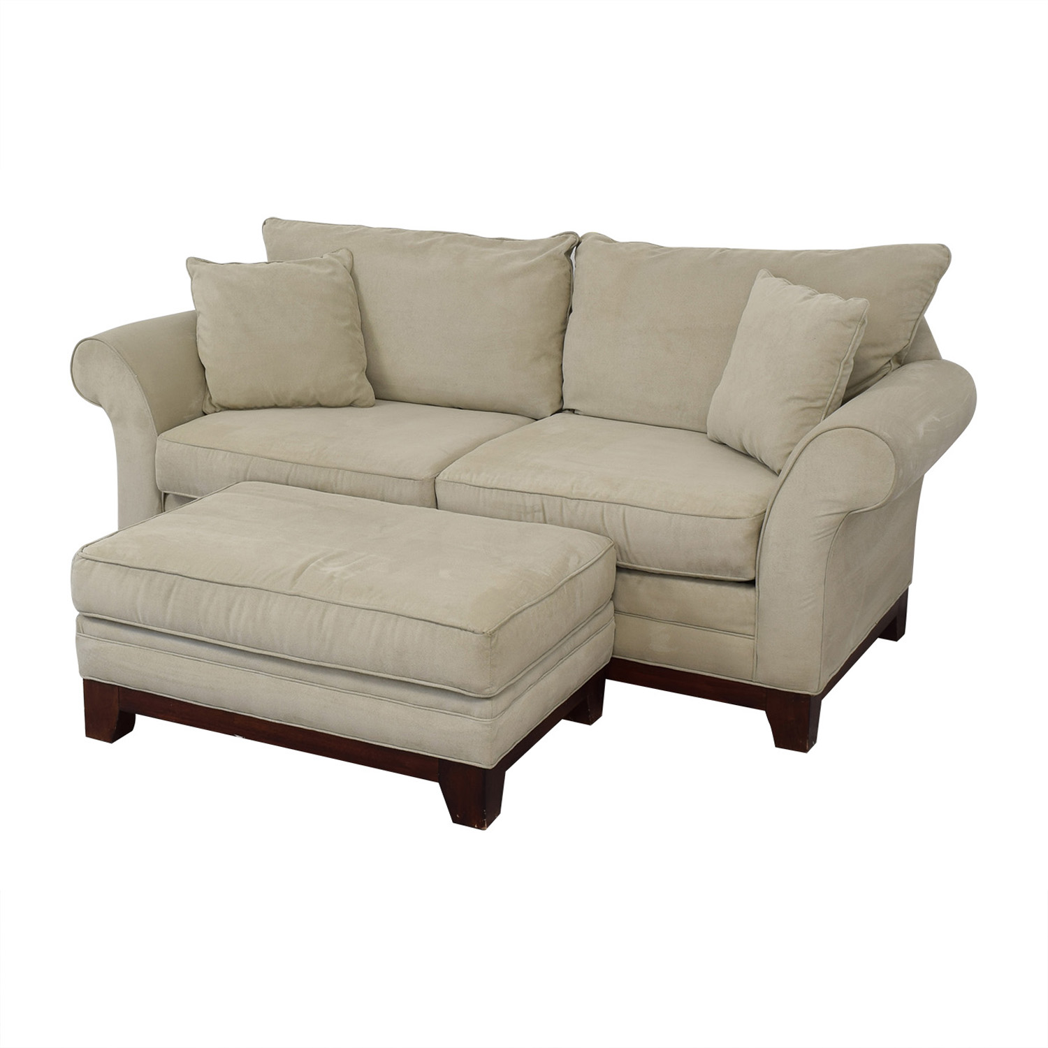 Craftmaster Furniture Craftmaster Furniture Microsuede Couch and Ottoman nyc