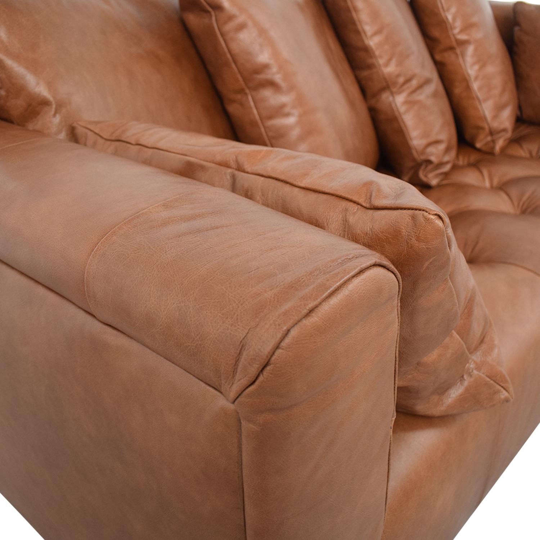 Interior Define Ms. Chesterfield Cognac Tufted Sofa nj
