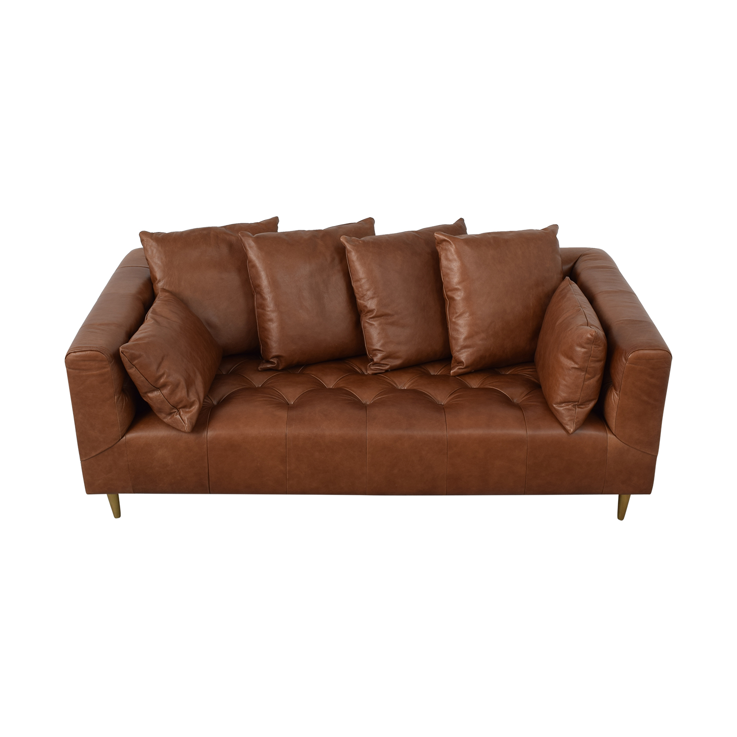Interior Define Ms. Chesterfield Cognac Tufted Sofa brown