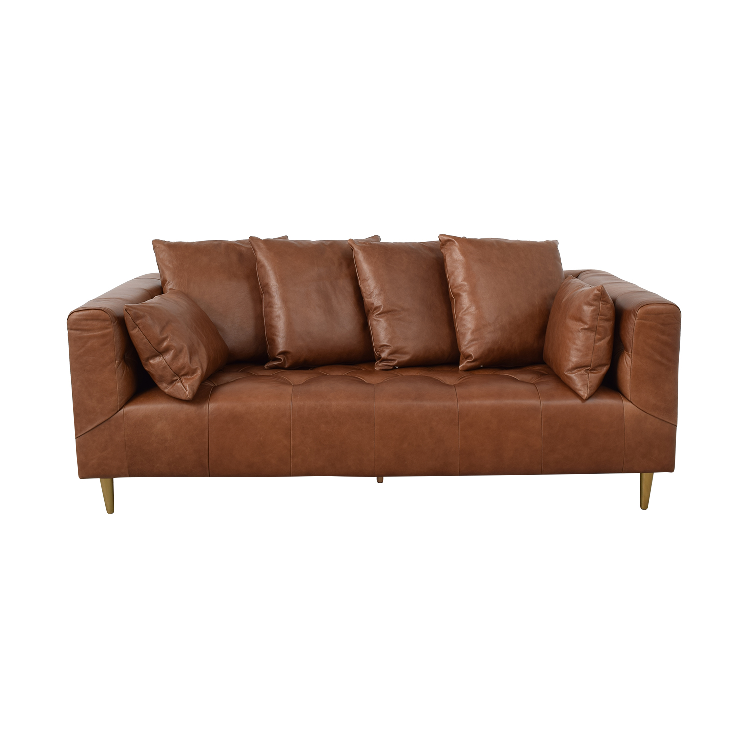 Interior Define Ms. Chesterfield Cognac Tufted Sofa discount