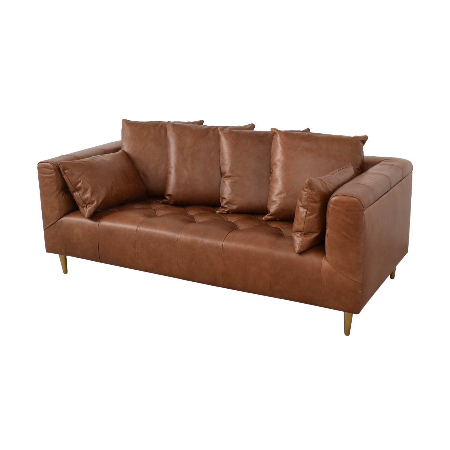 Interior Define Ms. Chesterfield Cognac Tufted Sofa coupon
