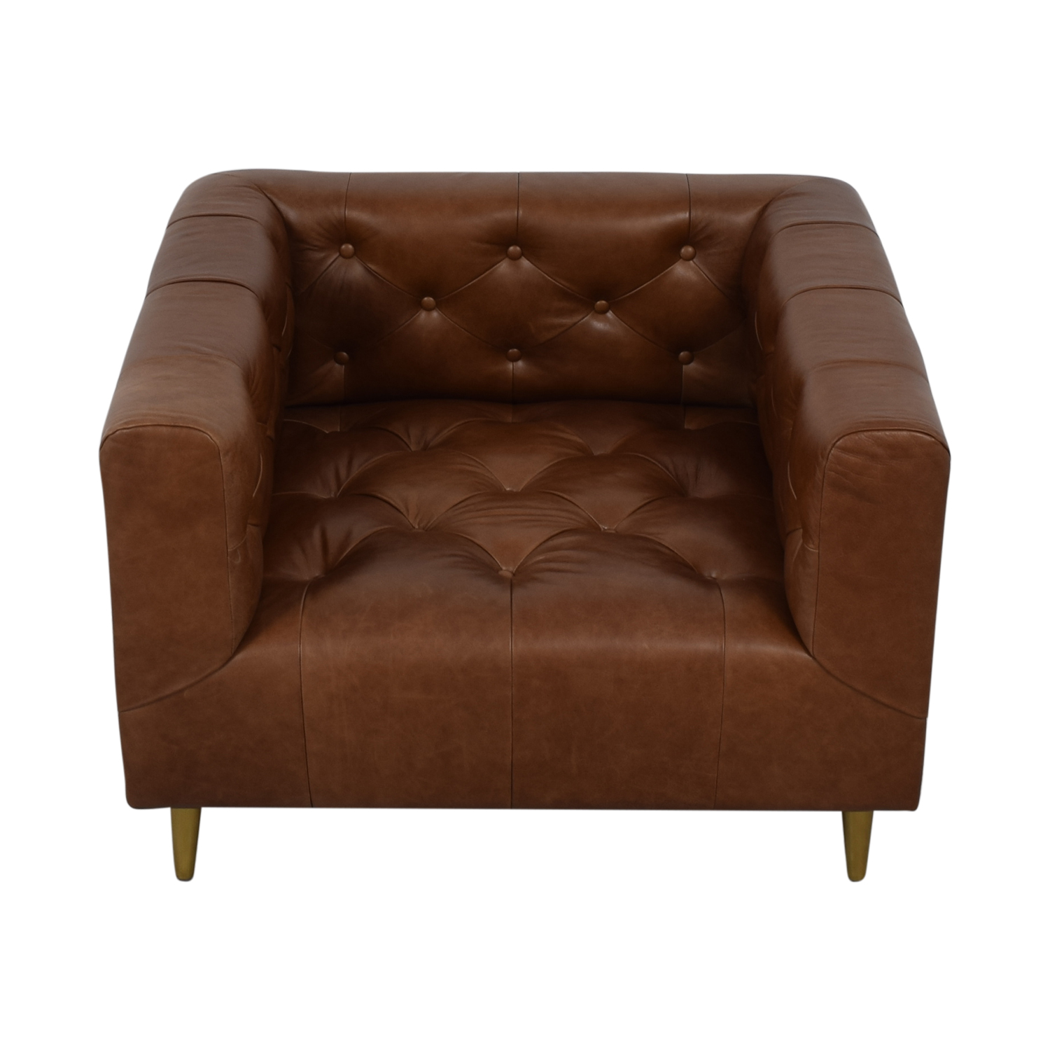 shop Ms. Chesterfield Cognac Tufted Accent Chair Interior Define Chairs