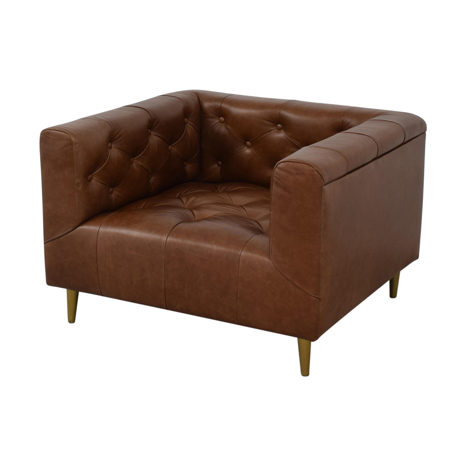 Interior Define Ms. Chesterfield Cognac Tufted Accent Chair dimensions