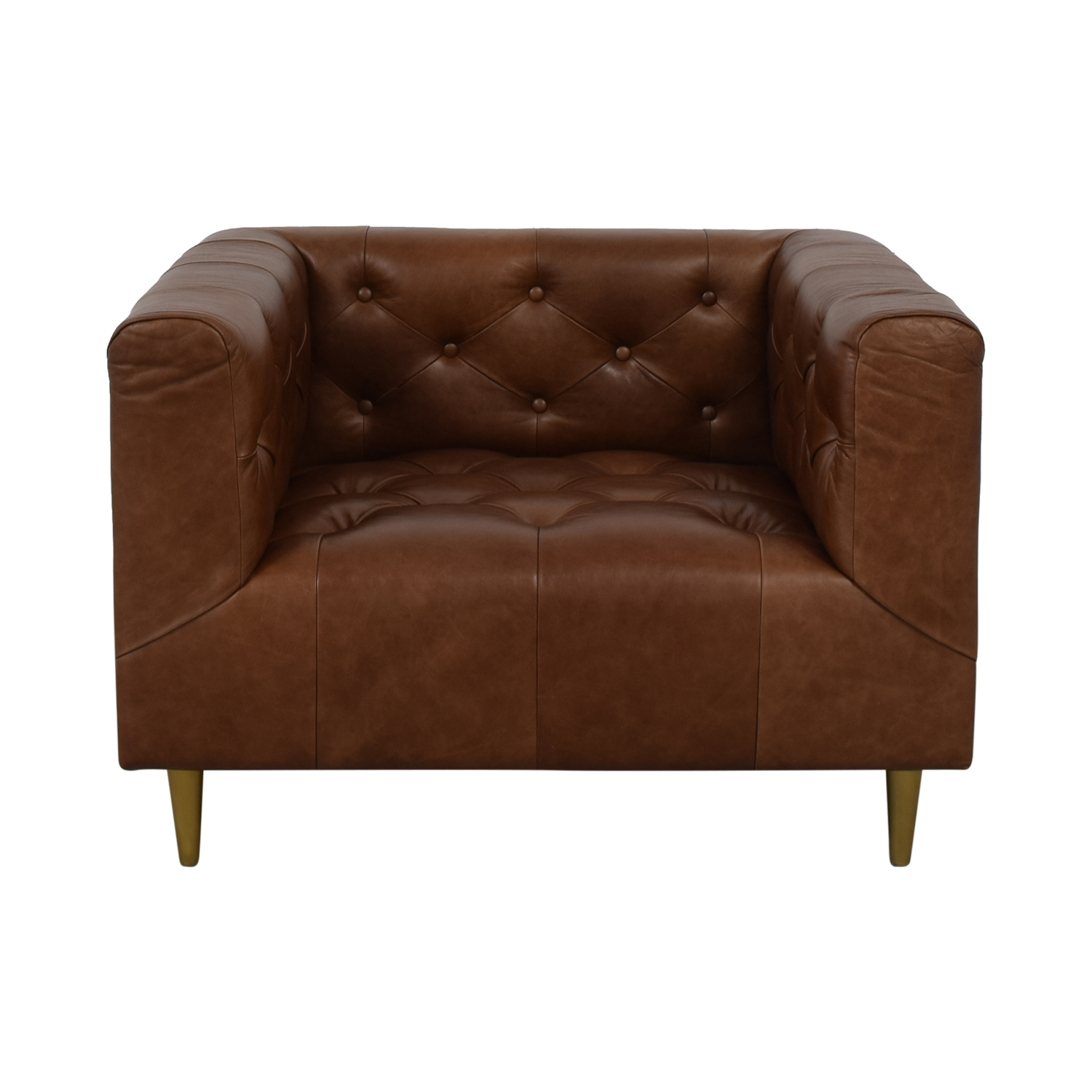 Interior Define Ms. Chesterfield Cognac Tufted Accent Chair discount
