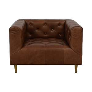 Interior Define Ms. Chesterfield Cognac Tufted Accent Chair nyc