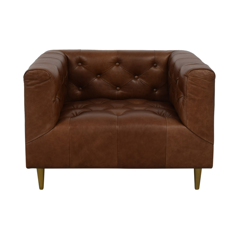 Interior Define Ms. Chesterfield Cognac Tufted Accent Chair for sale