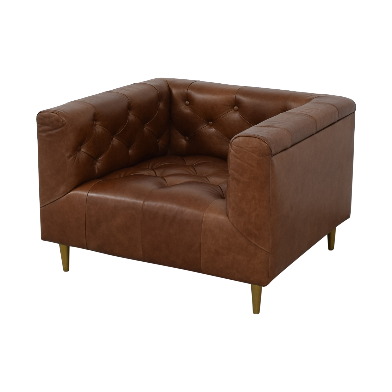 Interior Define Ms. Chesterfield Cognac Tufted Accent Chair on sale