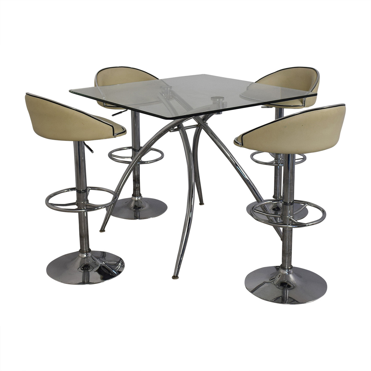 buy Chintaly Imports Adjustable Bar Stools and Glass Table Set Chintaly Imports