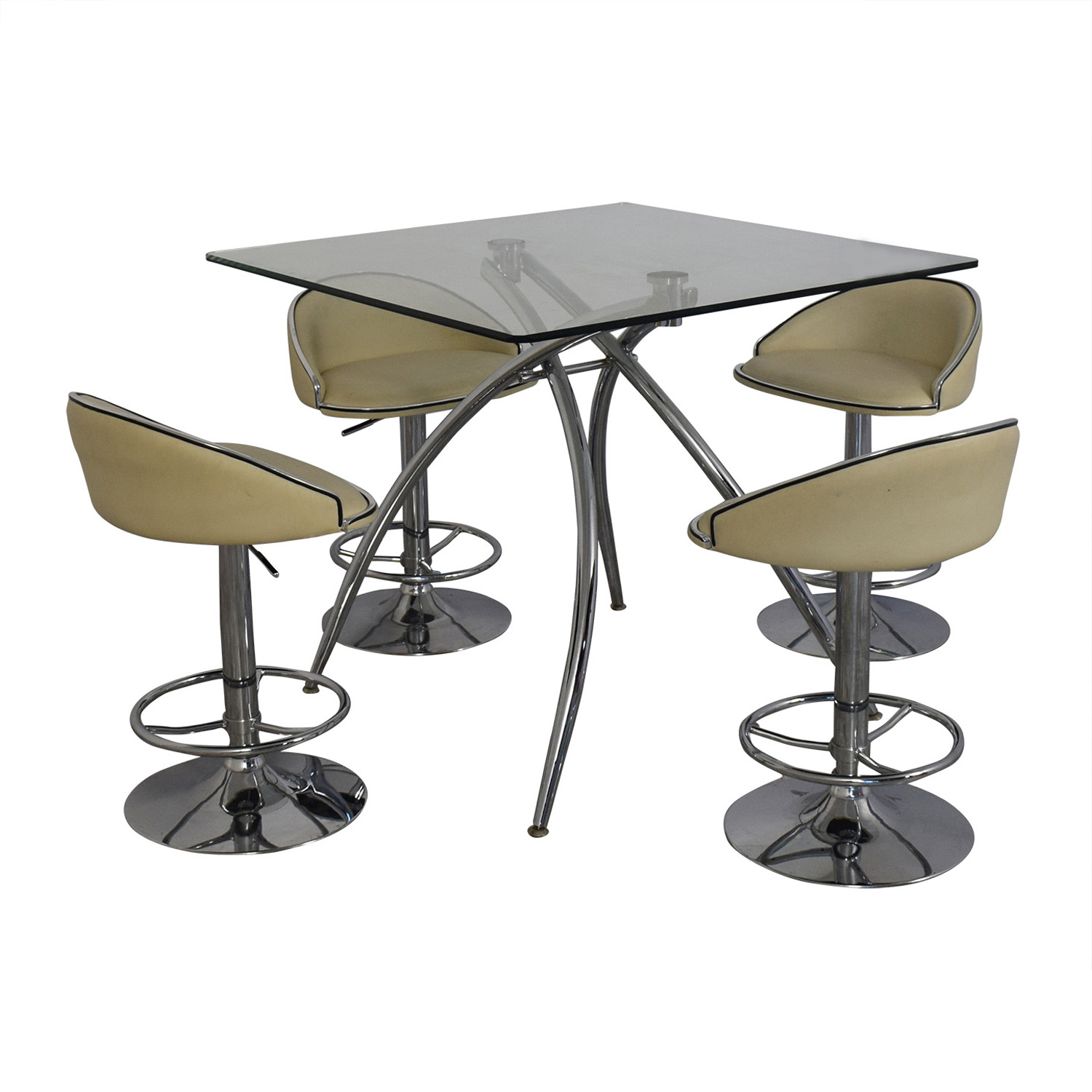 Chintaly Imports Chintaly Imports Adjustable Bar Stools and Glass Table Set discount