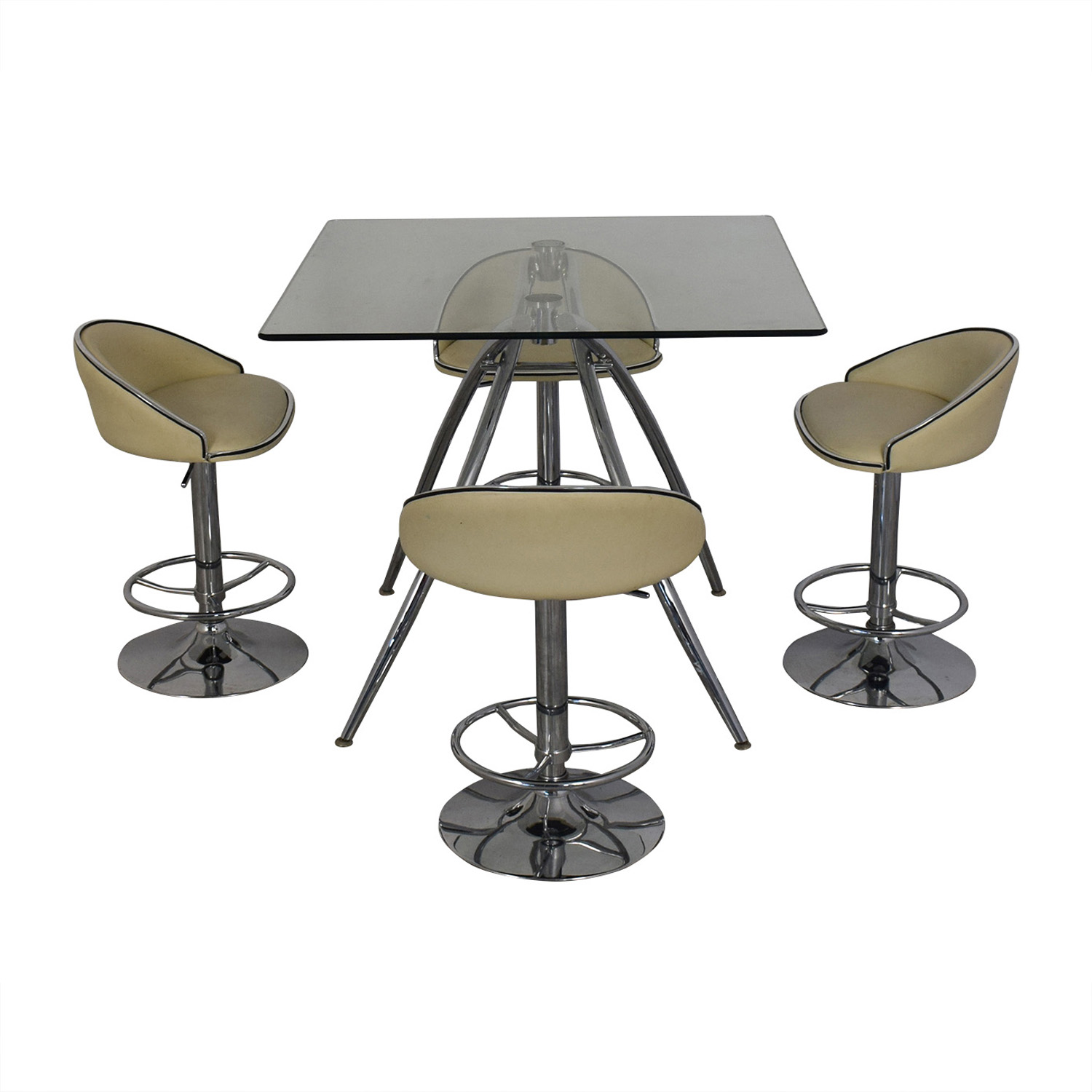 Chintaly Imports Adjustable Bar Stools and Glass Table Set / Dining Sets