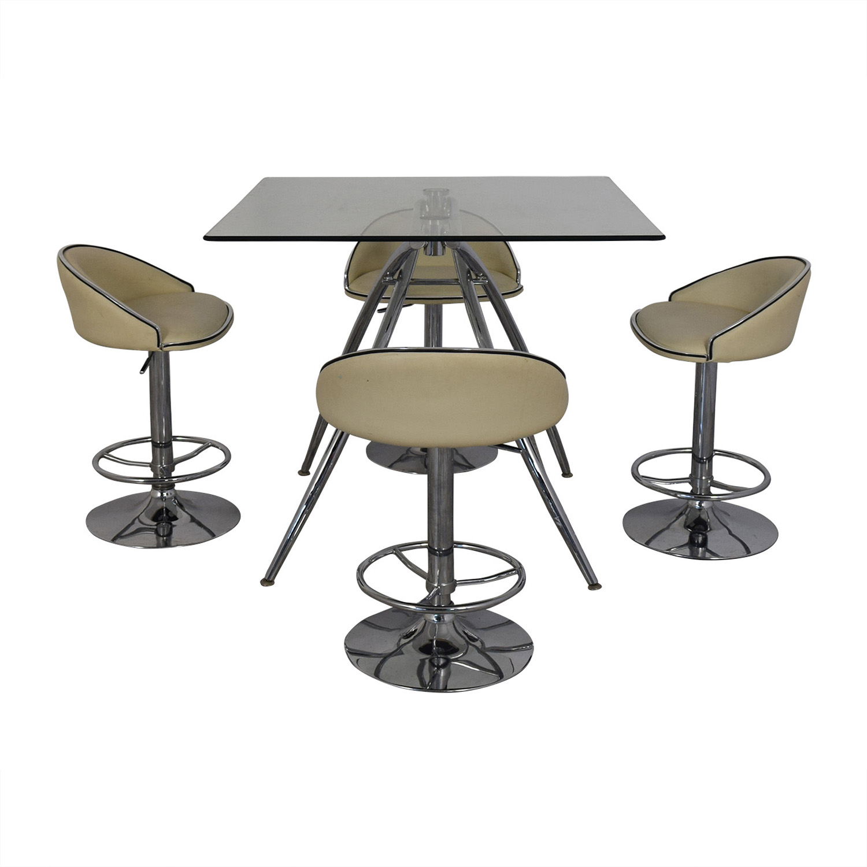 Chintaly Imports Chintaly Imports Adjustable Bar Stools and Glass Table Set nj