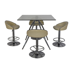 Chintaly Imports Chintaly Imports Adjustable Bar Stools and Glass Table Set dimensions