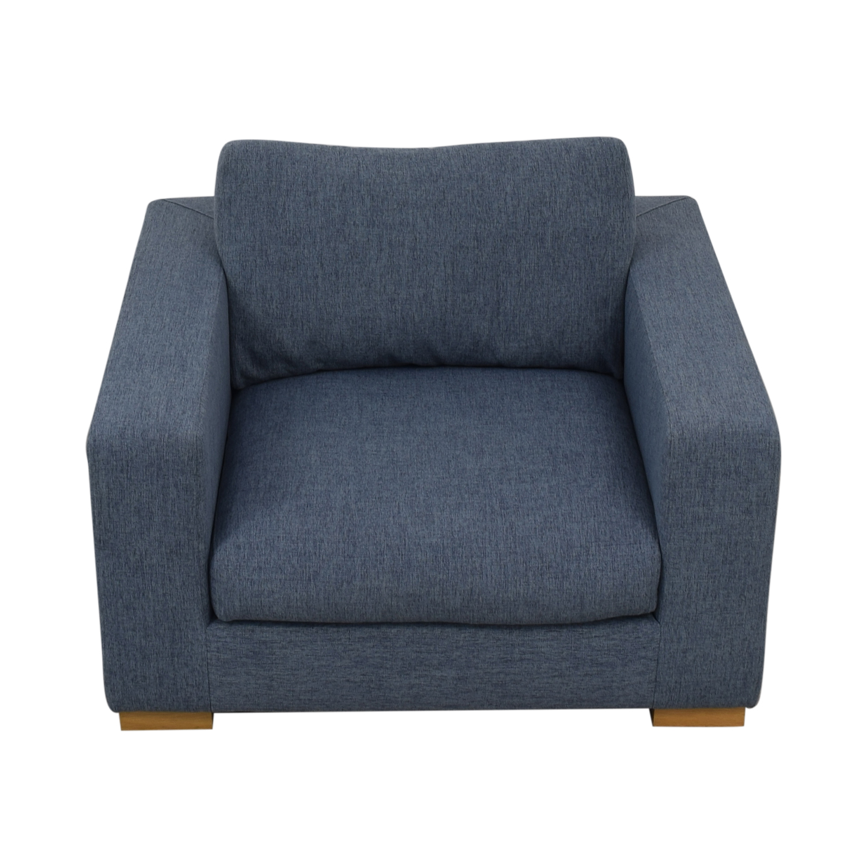 Interior Define Henry Accent Chair Cross Weave Rain Blue